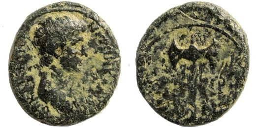 Ancient Coins - Lydia, Thyatira. Nero as Caesar under Claudius, 50-54 AD. AE 17mm (2.65 gm). RPC I, 2097; SNG von Aulock 3216