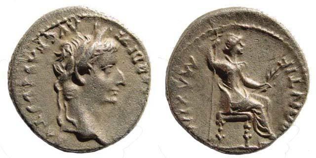 Ancient Coins - Tiberius 14-37 AD. AR Denarius (3.63 gm, 18.38 mm, 7h). Lugdunum (Lyon) mint. RIC I 30; Lyon 154/4 (D190/R182); BN 34; RSC 16a. Very fine