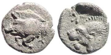 Ancient Coins - Mysia, Kyzikos. Circa. 510-475 BC. AR Obol (0.79 gm, 10mm). SNG France 380