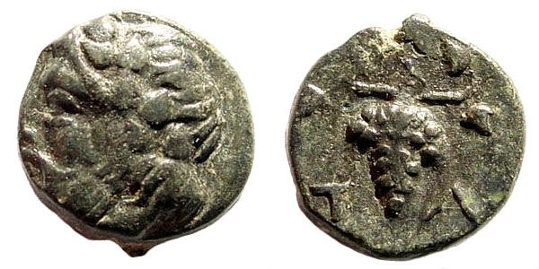 Ancient Coins - Aiolis, Temnos. 4th century BC. AE 10mm (1.14 gm). BMC 142, 1. Winterthur 2851; SNG Copenhagen 246. Rare