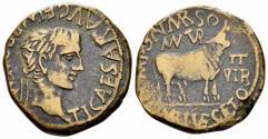 Ancient Coins - Spain, Terraconensis. Turiaso. Tiberius, 14-37 AD. AE 28mm (11.98 gm). M. Pont. Marsus and C. Mari. Vegetus, duoviri. RPC I 418
