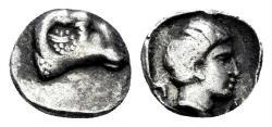 Ancient Coins - Karia, Halikarnassos. First half 4th century BC. AR Persic Hemiobol (0.35 gm, 7mm). SNG Helsinki I, 873