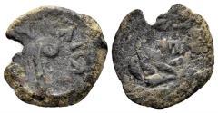 Ancient Coins - Judaea, Procurators. Pontius Pilate, 26-36 AD. AE Prutah (1.93 gm, 17mm). Jerusalem mint. Dated RY 18 of Tiberius (31 AD). Hendin 650