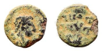 Ancient Coins - Barbaric Imitation. 4th-5th century AD. AE 10mm (0.68 gm, 10mm). Middle Eastern Mint