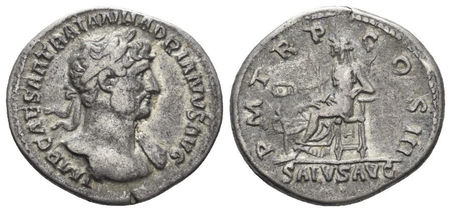 Ancient Coins - Hadrian. 117-138 AD. AR Denarius (3.23 gm, 19.5mm). Rome mint. Struck circa 119-125 AD. RIC II 139