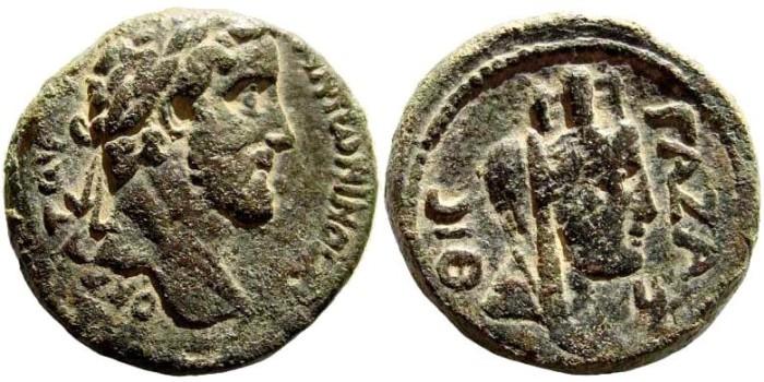 Ancient Coins - Judaea, Gaza. Antoninus Pius, 138-161 AD. AE 29mm (25.04 gm). Dated CY 219, 158-159 AD. Yashin, Ascalon to Raphia, 368