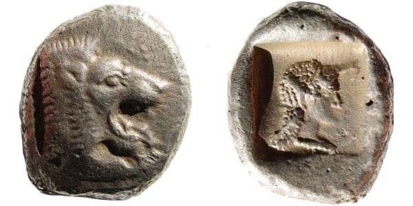 Ancient Coins - Caria, Knidos. Circa 520-495 BC. AR Drachm (6.06 gm). Cah, Knidos pl. 3, 43 (same dies)