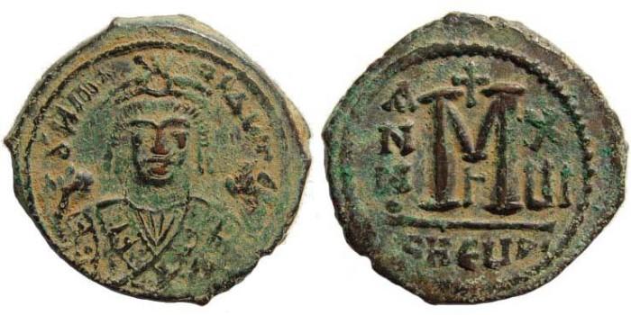 Ancient Coins - Maurice Tiberius, 582-602 AD, AE Follis (12.00 gm). Antioch, officina Γ / XuI. Sear 533; MIB 96c. Interesting style