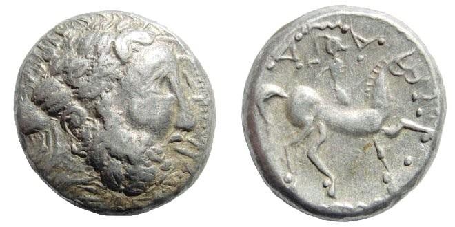 "Ancient Coins - Celtic, Pannonia. ""Triangle-Ornament-Type"". 3rd-2nd century BC. AR Tetradrachm (13.76 gm, 21mm). Dembski 1331; Göbl, Ostkelten 413"