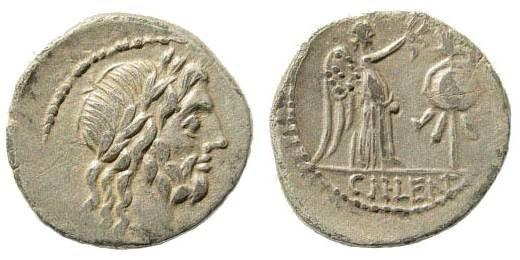 Ancient Coins - Roman Republic, Cn Lentulus. circa 87 BC. AR Quinarius (1.58 gm, 16mm). Rome mint. Sydenham 703