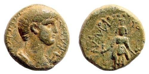 Ancient Coins - Lydia, Philadelphia (Neocaesarea). Nero, 54-68 AD. AE 15mm (3.85 gm). 54-59 AD. RIC 3041