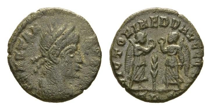 Ancient Coins - Constans, 337-350 AD. AE Follis (1.56 gm, 14mm). Trier mint, 341-346 AD. LRBC 158