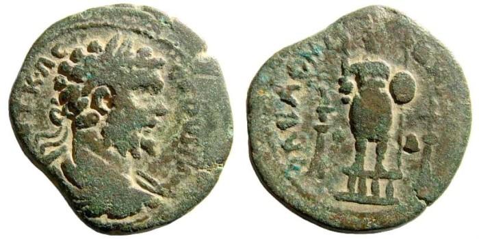 Ancient Coins - Arabia, Rabbathmoba. Septimius Severus, 193-211 AD. AE 29mm (16.23 gm). Dated CY 105 (210/1 AD).Spijkerman 4