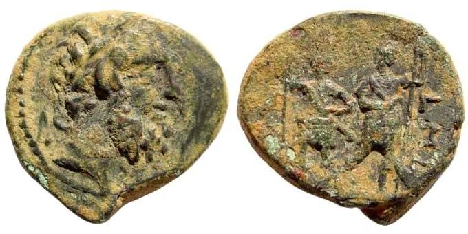 Ancient Coins - Syria, Coele-Syria. Chalkis. Ptolemaios, tetrarch, circa 85-40 BC. AE 21mm (5.49 gm). Year 240, 73/72 BC. SNG Copenhagen 413