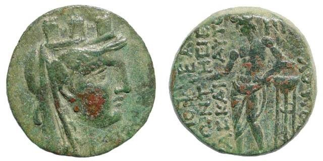 Ancient Coins - Cilicia, Mopsuestia-Mopsos. Time of Claudius I. Dated 118 = 50/1 AD. AE 20mm (4.79 gm). RPC I, 4056; SNG Levante 1324; SNG PFPS 925