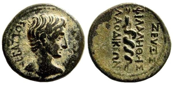 Ancient Coins - Phrygia, Laodikeia. Augustus, 27 BC – 14 AD. AE 14mm (3.42 gm). Zeuxis Philalethes, ca.15 BC. RPC I 2895