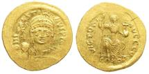 Ancient Coins - Justin II. 565-578. AV Gold Solidus (4.47 gm, 20.5mm). Constantinople mint. Struck 567-578. SB 345