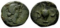 Ancient Coins - Mysia, Parium. Pseudo-autonomous issue. Time of Julius Caesar, circa 45 BC. AE 15mm (2.56 gm). RPC I 2259