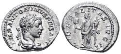 Ancient Coins - Elagabalus. 218-222 AD. AR Denarius (3.58 gm, 20mm). Rome mint. Struck 219-220 AD. RIC IV 99 var.