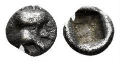 Ancient Coins - Achaemenid Kingdom. Uncertain ruler. Circa late 5th century BC. AR Tetartemorion (0.17 gm, 4.5mm). Troxell & Kagan 16 var. (head left)
