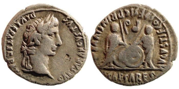 Ancient Coins - Augustus. 27 BC-14 AD. AR Denarius (3.84 gm, 21 mm). Lugdunum (Lyon) mint. Struck 2 BC-14 AD. RIC I 207