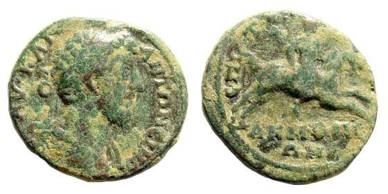 Ancient Coins - Phrygia, Akmoneia. Marcus Aurelius, 161-180 AD. AE 18mm (3.49 gm). SNG Copenhagen 33