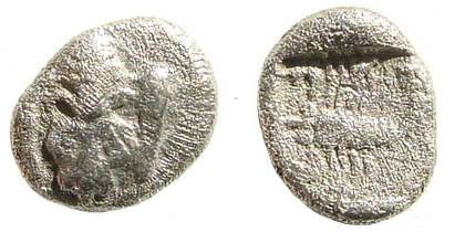 Ancient Coins - Caria, Mylasa (?). Circa 450-400 BC. AR Obol (0.51 gm, 8mm). SNG Kayhan 934; SNG Copenhagen 379 (Uncertain Coins of Asia Minor); SNG von Aulock 7803