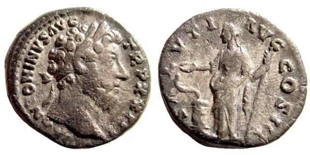 Ancient Coins - Marcus Aurelius. 161-180 AD. AR Denarius (3.26 gm, 17mm). Rome mint, 168-169 AD. RIC 207, Cohen 543