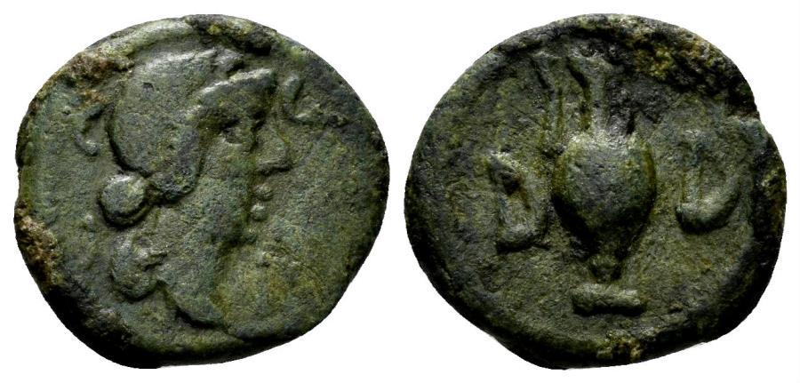 Ancient Coins - Mysia, Parium. Pseudo-autonomous issue. Time of Julius Caesar, circa 45 BC. AE 15mm (2.56 gm). RPC I 2259