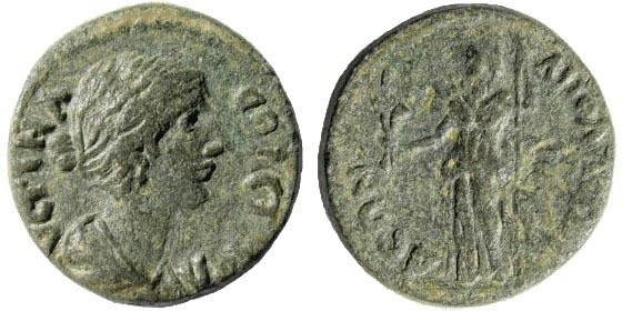 Ancient Coins - Lydia, Apollonis. Faustina II. Died 175 AD. AE 19mm (5.12 gm). SNG Copenhagen 27