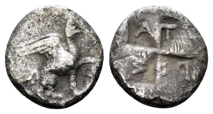 Ancient Coins - Ionia. Teos. Circa 400-375 BC. AR Diobol (1.04 gm, 10mm). Atyros, magistrate. Savoca 11th blue auction, lot 735. Rare