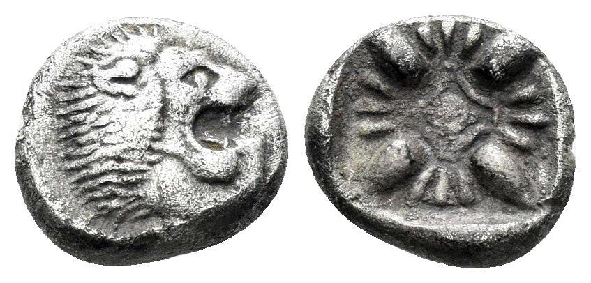 Ancient Coins - Ionia, Miletos. Late 6th-early 5th century BC. AR Diobol (1.16 gm, 10mm). SNG Kayhan 476-82