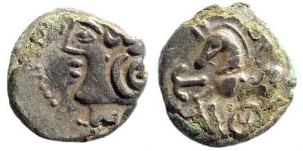Ancient Coins - Gallia, The Aedui or Lingones. Circa 1st Century BC. AR Quinarius (1.15 gm, 11mm). Kaletedou series. CCCBM II 292