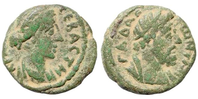 Ancient Coins - Syria, Decapolis. Gadara. Crispina, 178-192 AD. AE 20mm (5.74 gm). Dated 178-180 AD. Spijkerman 49