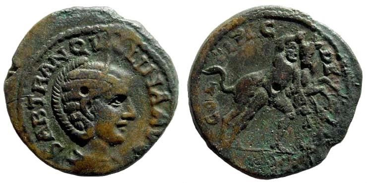 Ancient Coins - Thrace. Deultum. Tranquillina, wife of Gordian III. Augusta, 241-244 AD. AE 23mm (6.99 gm). Jurukova 401