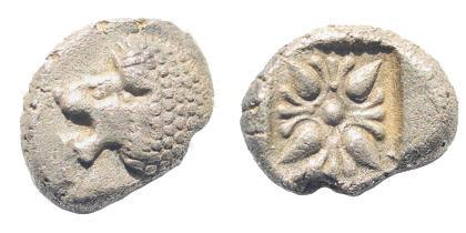 Ancient Coins - Ionia, Miletos. Late 6th- early 4th century BC. AR 1/12th Stater (1.17 gm, 11mm). SNG Helsinki II 277