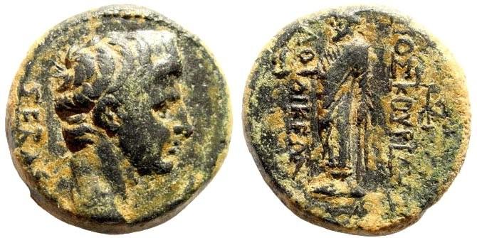 Ancient Coins - Phrygia, Laodikeia. Tiberius, 14-37 AD. AE 18mm (6.9 gm). Kor. Dioskourides. RPC I, 478, 2906; BMC 301, 141 (Augustus); SNG München 372