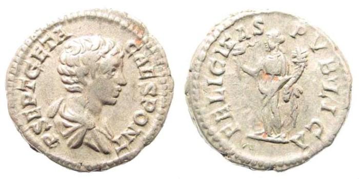 Ancient Coins - Geta, as Caesar, 198-209 AD. AR Denarius (3.49 gm, 19mm). Rome mint. Struck 200-202 AD. RIC IV 9a