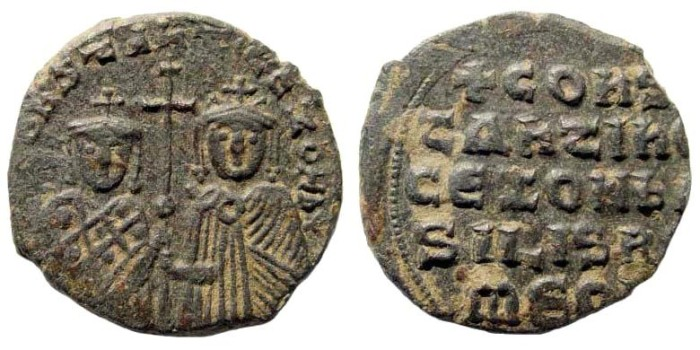 Ancient Coins - Constantine VII and Zoe, 913-959 AD. AE Follis (5.90 gm, 24mm). Constantinople mint. Struck 914-919 AD. DOC III 22; SB 1758