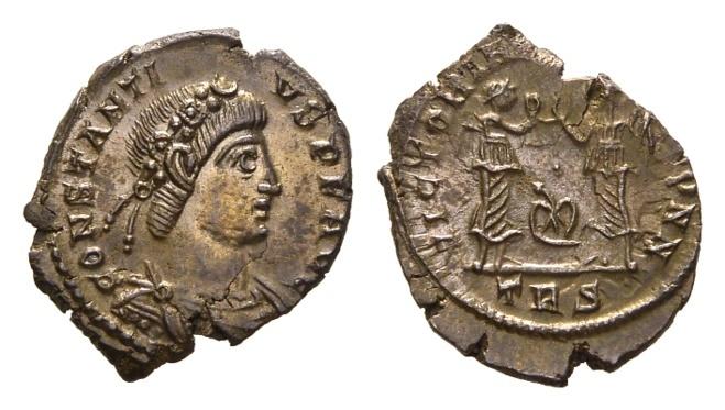 Ancient Coins - Constantius II, 337-361 AD. AE Follis (1.92 gm, 16mm). Trier mint, 341-346 AD. LRBC 139