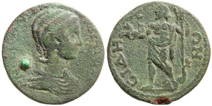 Ancient Coins - Pamphylia, Side. Orbiana, wife of Severus Alexander. 225-227 AD. AE 31mm (15.41 gm). SNG von Aulock 4824 (same reverse die)