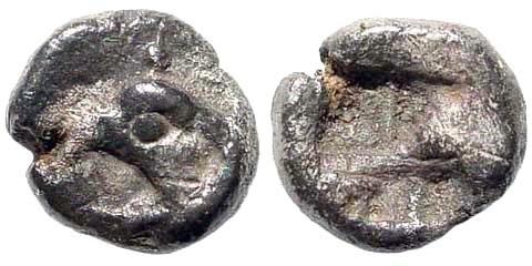 Ancient Coins - Ionia, Phokaia or Teos. Circa.450-425 BC, AR Hemiobol (0.34 gm, 6.5mm). BMC –. Rosen –. SNG Kayhan –. Rare