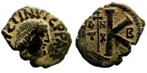 Ancient Coins - Justin I, 518-527 AD. AE Half Follis (6.38 gm, 28mm) Imitating Antioch. Cf. SB 104 (for prototype)