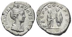 Ancient Coins - Plautilla, Augusta, 202-205 AD. AR Denarius (3.29 gm, 19mm). Rome mint. RIC IV 362 (Caracalla)