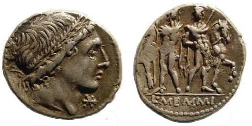 Ancient Coins - Roman Republic, M. MEMMIVS, ca. 109-108 BC, Denarius