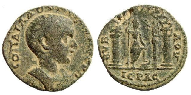 Ancient Coins - Phoenicia, Byblos. Diadumenian, 217-218 AD. AE 24mm (10.23 gm). Rouvier JIAN 4 (1901), 54. 699