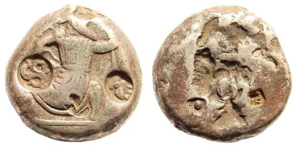 Ancient Coins - Achaemenid Kings. Circa 375-340 BC. AR Siglos (5.41 gm, 15mm). Carradice, Taf. XV, 46. Triskelis-countermark (Lycia), Kraay, Isparta Hoard, 18