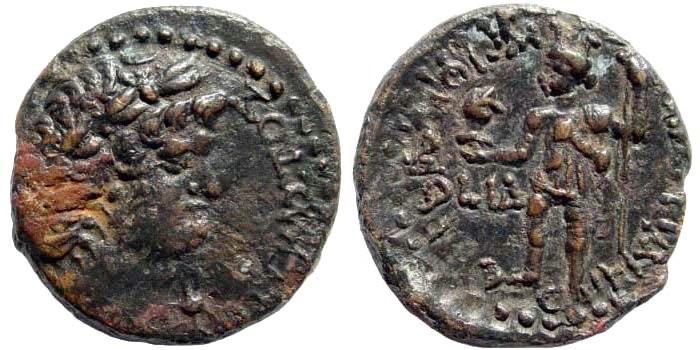 Ancient Coins - Judaea, Caesarea Maritima. Nero, 54-68 AD. AE 22mm (6.79 gm). 68 AD. RPC I, 4862