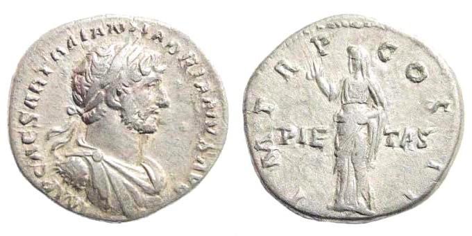 Ancient Coins - Hadrian, 117-138 AD. AR Denarius (3.51 gm, 18mm). Rome mint. Struck 118 AD. RIC II 45