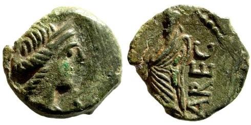 Ancient Coins - Gallia Narbonensis, Volcae Arecomici, circa 70-60 BC. AE 14mm (1.68 gm). Nemausus mint. LT 2657; Scheers, SM 35